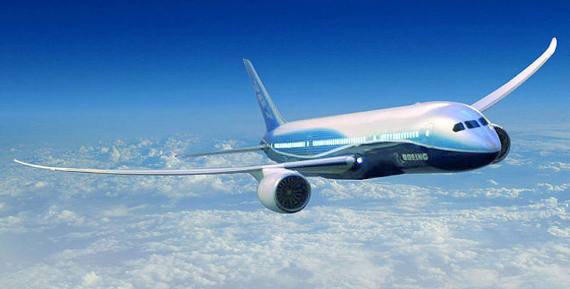 Aeromobile Boeing 787 Dreamliner in volo