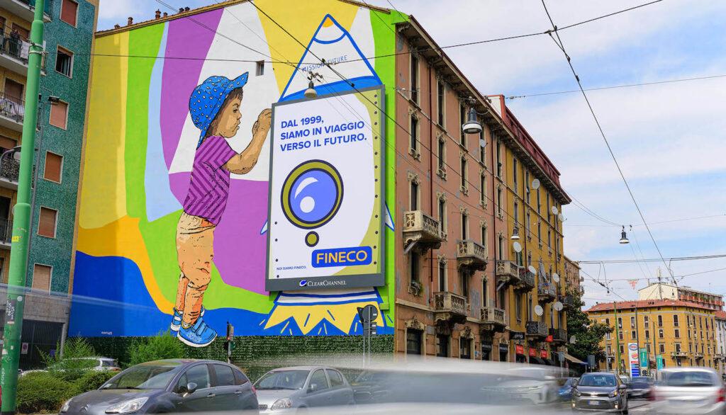 Street Art a Milano: : in Via Padova/Via D'Aviano sempre Fineco ha messo a disposizione di Robico  uno spazio di 150 mq.